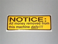 LABELS, MONEY REMOVED FROM MACHINE